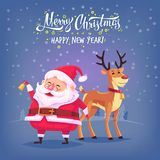 Cute cartoon Santa Claus ringing bell and funny reindeer Merry Christmas vector illustration Greeting card poster Royalty Free Stock Photo