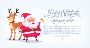 Cute cartoon Santa Claus ringing bell with reindeer Merry Christmas vector illustration horizontal banner. Royalty Free Stock Image