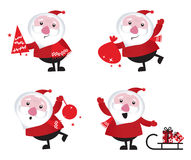 Cute cartoon Santa Claus set stock illustration