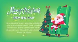 Cute cartoon Santa Claus sitting in chair drinking tea Merry Christmas vector illustration horizontal banner Stock Photos