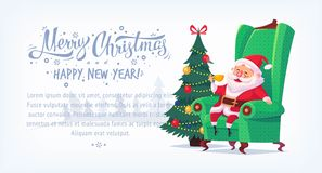 Cute cartoon Santa Claus sitting in chair drinking tea Merry Christmas vector illustration horizontal banner. Royalty Free Stock Images