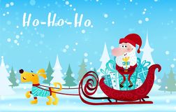 Cute cartoon Santa Claus sitting in sleigh with dog Merry Christmas vector illustration horizontal banner.  Royalty Free Stock Photography