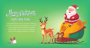 Cute cartoon Santa Claus sitting in sleigh with reindeer Merry Christmas vector illustration horizontal banner.  Stock Image