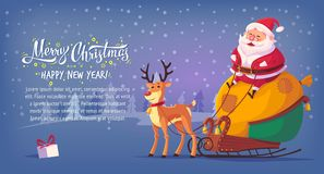 Cute cartoon Santa Claus sitting in sleigh with reindeer Merry Christmas vector illustration horizontal banner.  Stock Photos