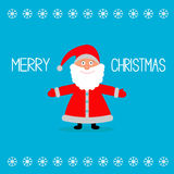 Cute cartoon Santa Claus and snowflakes. Merry Chr Stock Photos