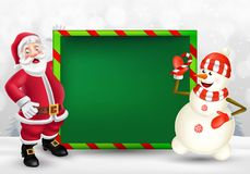 Merry Christmas greeting card with cartoon Santa Claus and snowman royalty free illustration