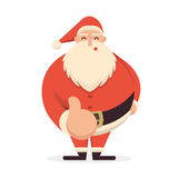 Cute cartoon Santa Claus standing with his thumb up. Cheerful an Stock Photo