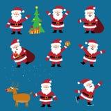 Cute cartoon Santa Claus vector set, Christmas characters. Stock Photo