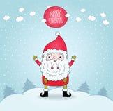 Cute cartoon Santa Claus and winter nature Royalty Free Stock Photos