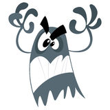 Scary cartoon ghost. Cute cartoon scary ghost making a frightening attacking gesture Stock Image