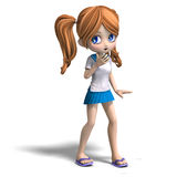 Cute cartoon school girl Stock Images