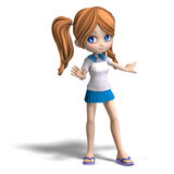 Cute cartoon school girl Royalty Free Stock Images
