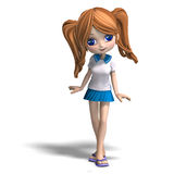 Cute cartoon school girl Royalty Free Stock Photography
