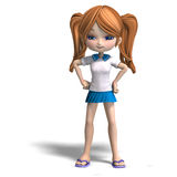 Cute cartoon school girl Royalty Free Stock Image