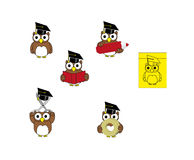 Cute cartoon school little owls Stock Photography