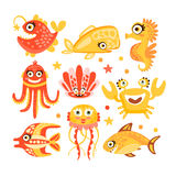 Cute cartoon sea creatures, marine life. Underwater world set of colorful characters vector Illustrations. Isolated on white background Stock Image