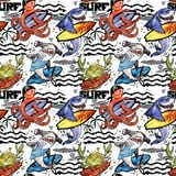 Cute cartoon sea fish seamless pattern. vintage surf background. Shark. octopus. crab. surfing Stock Image