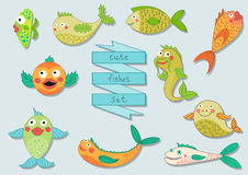 Cute cartoon sea fishes set Stock Photography