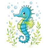 Cute cartoon Sea horse isolated. Stock Image