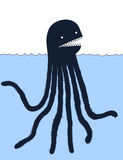 Cute cartoon sea monster illustration Stock Photos