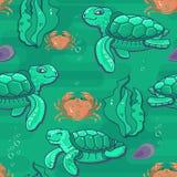 Cute cartoon sea Turtle. Vector seamless pattern. Cute cartoon sea Turtle. Green Turtles on aquamarine background. Vector seamless pattern Royalty Free Stock Image