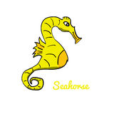 Cute cartoon seahorse. Ocean animal vector illustration. Sea creature in a funny, hand drawn style stock illustration