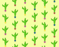 Cute cartoon seamless cactus pattern Stock Images