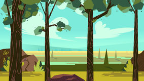 Cute cartoon seamless landscape with separated layers, summer day illustration Royalty Free Stock Photography