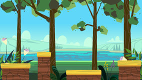Cute cartoon seamless landscape with separated layers, summer day illustration. Fits on mobile devices and may be scaled for desktop size. 1920x1080 Royalty Free Stock Photography