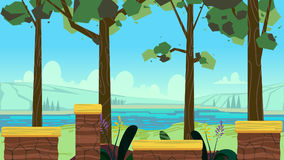 Cute cartoon seamless landscape with separated layers, summer day illustration, fits on mobile devices and may be scaled Stock Image