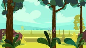 Cute cartoon seamless landscape with separated layers, summer day illustration, fits on mobile devices and may be scaled. For desktop size. 1920x1080 Stock Photos