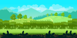 Cute Cartoon Seamless Landscape With Separated Layers, Summer Day Illustration Royalty Free Stock Photos