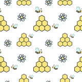 Cute cartoon seamless pattern background with bees, honeycombs and daisy flowers Stock Photo
