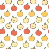 Cute cartoon seamless vector pattern background illustration with yellow and red apples. Cute cartoon seamless pattern background illustration with yellow and Vector Illustration