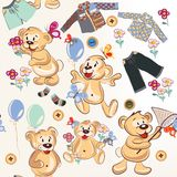 Cute cartoon seamless pattern with bears in childish style Royalty Free Stock Images