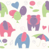 Cute cartoon seamless pattern with elephants, balloons and umbre vector illustration