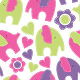 Cute cartoon seamless pattern with elephants. Childish style vec Royalty Free Stock Photos