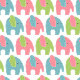 Cute cartoon seamless pattern with elephants stock illustration