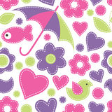 Cute cartoon seamless pattern with fish, umbrellas, birds, flowe Stock Image