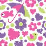Cute cartoon seamless pattern with fish, umbrellas, birds, flowe Stock Image