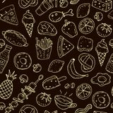 Cute cartoon  seamless pattern with food on a neutral background royalty free illustration