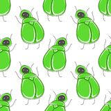 Cute cartoon seamless pattern with funny green bug: scarab. royalty free illustration