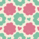 Cute cartoon seamless pattern with sheep. Childish style vector Stock Photography