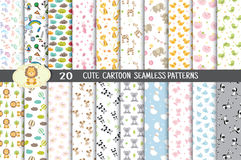 Cute Cartoon Seamless Patterns, Pattern Swatches Included Royalty Free Stock Images