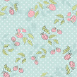 Cute cartoon seamless print pattern pink raspberries in retro co Stock Photos