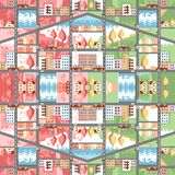 Cute cartoon seamless town map. Spring and summer cityscape. Stock Image