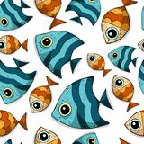 Cute cartoon seamless vector pattern with colored sea fishes. stock illustration