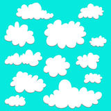 Cute cartoon set of clouds on blue background for logo, web and print. Sky background. Graphic element  Royalty Free Stock Photos