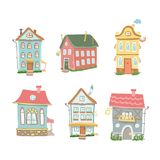 Cute cartoon  set of hand drawn houses Home Sweet. Cute cartoon  set of hand drawn houses  Home Sweet Home on white background Stock Photography