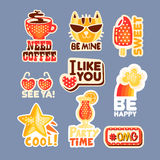 Cute cartoon set of stickers with short positive messages. Colorful cartoon detailed Illustrations Stock Photography